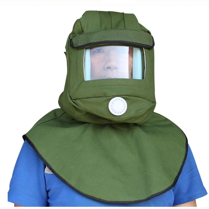 Painting Protective Mask Dustproof Hood Sandblasting Protective Cap Industrial Grinding Labor Helmet Anti Dust Equipment