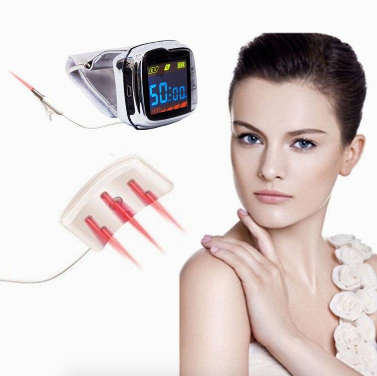 18 vigas bio 650nm alívio da dor do laser relógio de pulso dispositivo de terapia a laser para o tratamento de hipertensão pressão arterial elevada