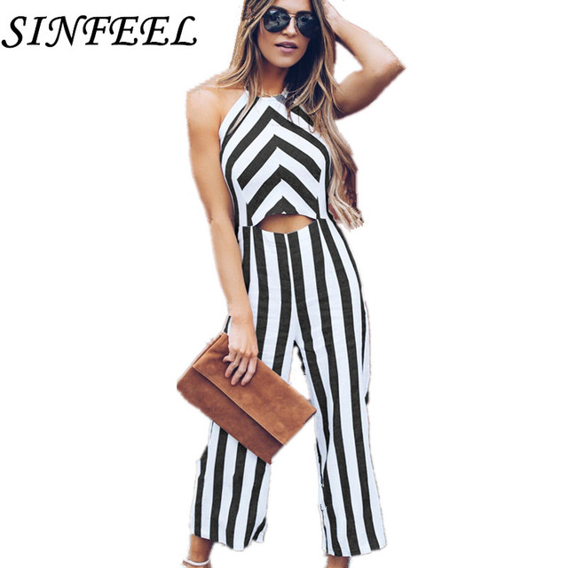 ec1f1991f12 2018 Summer Women Sexy Backless Striped Jumpsuit Rompers Casual Trousers  Fashionable Leotard Catsuit Combinaison Wide Leg