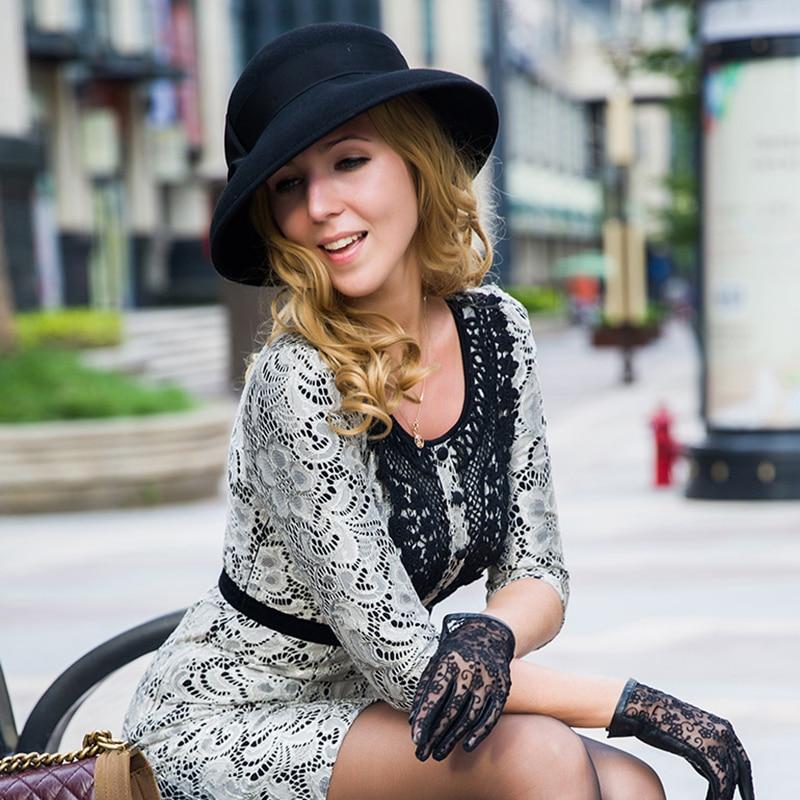 0252fae98c422 Sedancasesa Elegant 100% Australia Wool Fedoras Felt Hat Handmade Bowknot  Warm Bowler Winter Floppy Ladies