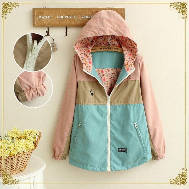Autumn New Women Jacket Loose Pocket Zipper Cartoon Print Hooded Two Side Wear Casual Jacket Coat Female Outerwear girls gifts