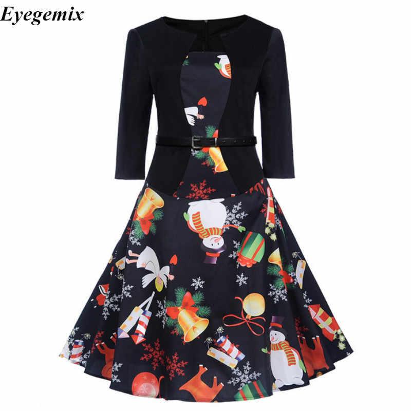 Robe vestido de natal 2019 das mulheres papai noel imprimir a linha 50s 60s robe vestido vintage elegante festa de inverno vestidos mais tamanho