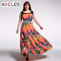 New Women Summer Bohemian Elegant Maxi Contrast Fit And Flare Print Patchwork O Neck Sleeveless Casual