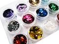 12 Brillo Del Arte Del Clavo Formas CUADRADAS Confetti Sequins Extremidades De Acrílico UV Gel