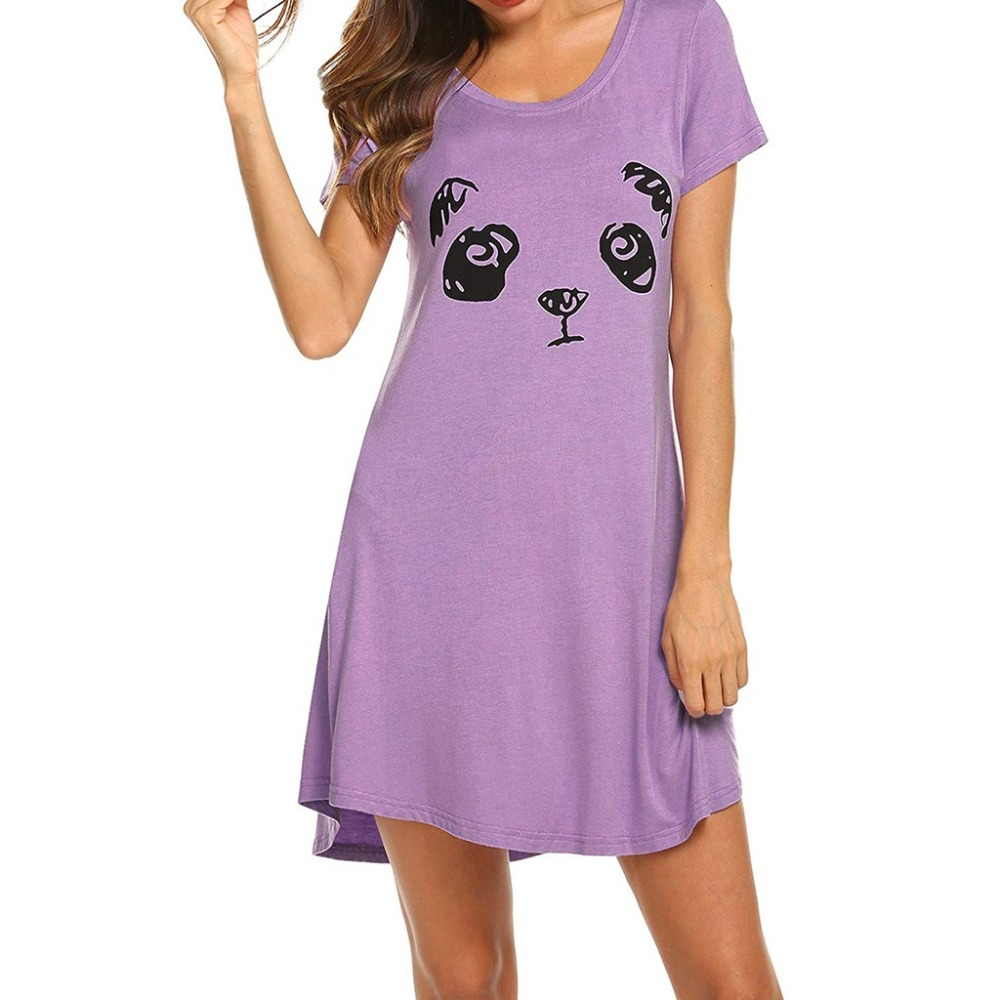 Women's Sleepwear Loungewear Nightgown Ladies Short Sleeve Casual Cartoon Print Comfy Nightdress Loose Sleep Dress Homewear BB4