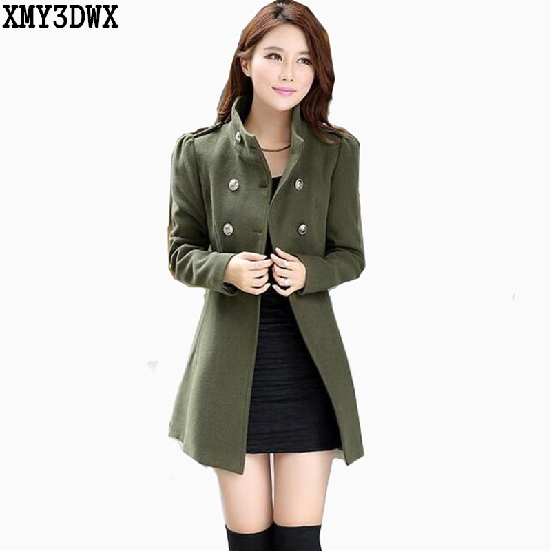 2017 fashion girl in winter to keep warm the double-breasted woolen cloth coat/Women Trench Coat Long double-breasted jackets