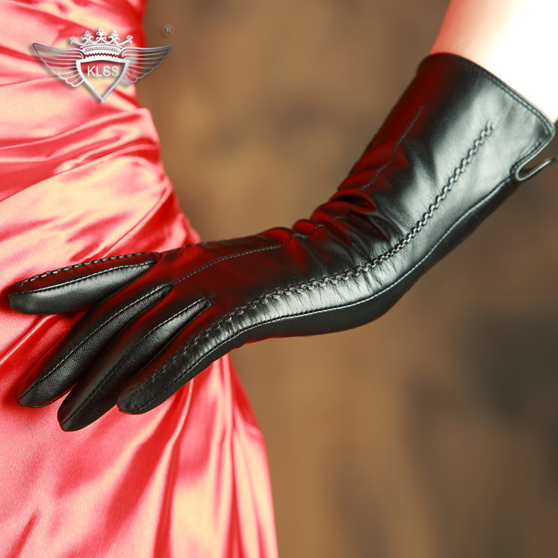 KLSS Brand Genuine Leather Women Gloves High Quality Goatskin Gloves Top Trend 30cm Long Elegant Lady