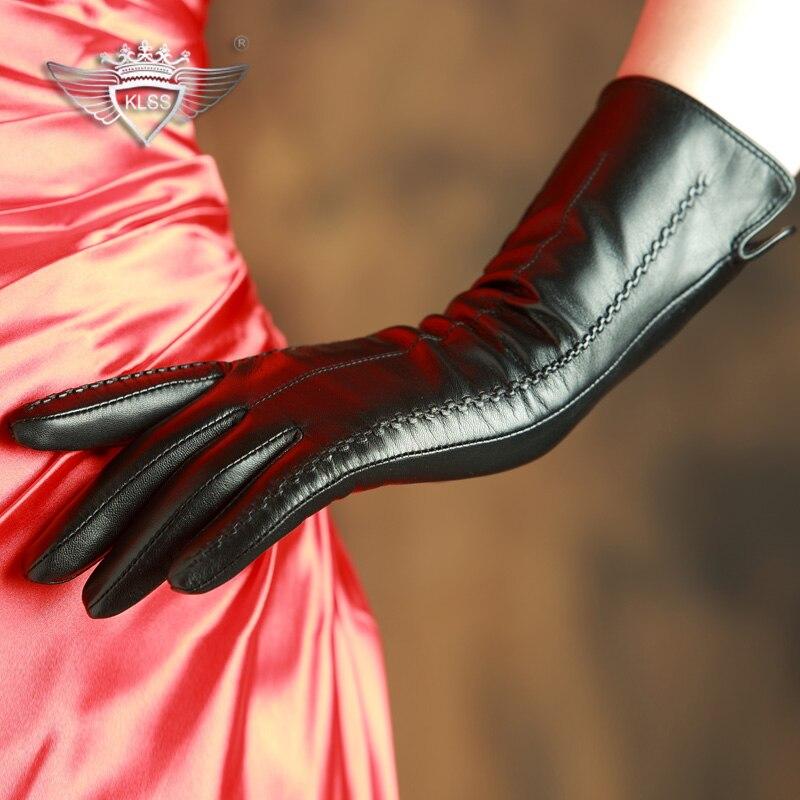 KLSS Брендовые женские перчатки из натуральной кожи высокого качества козья кожа перчатки Топ Тренд 30 см длинные элегантные женские перчатки...