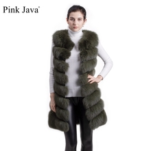 Pink Java pink QC8048 long model natural real fox fur vest gilet for women girls