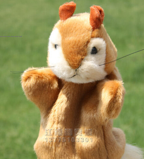 Story toy 1pc 26cm cartoon pretty squirrel hand puppets parent-child plush sleeping pacify educational game stuffed baby gift