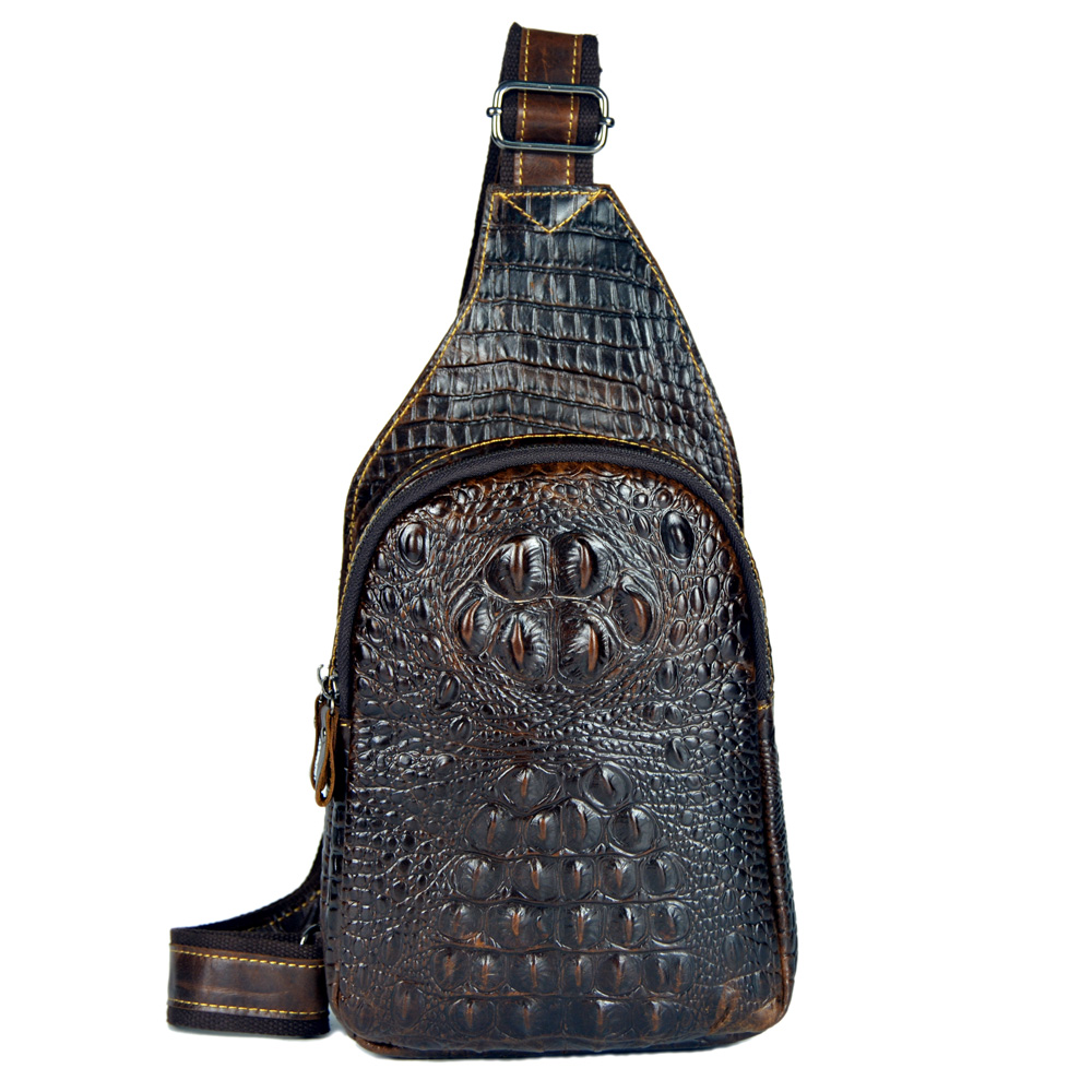 Hot genuine leather small messenger bags for men chest packs crossbody shoulder bags male cowhide man handbags Crocodile pattern цены онлайн