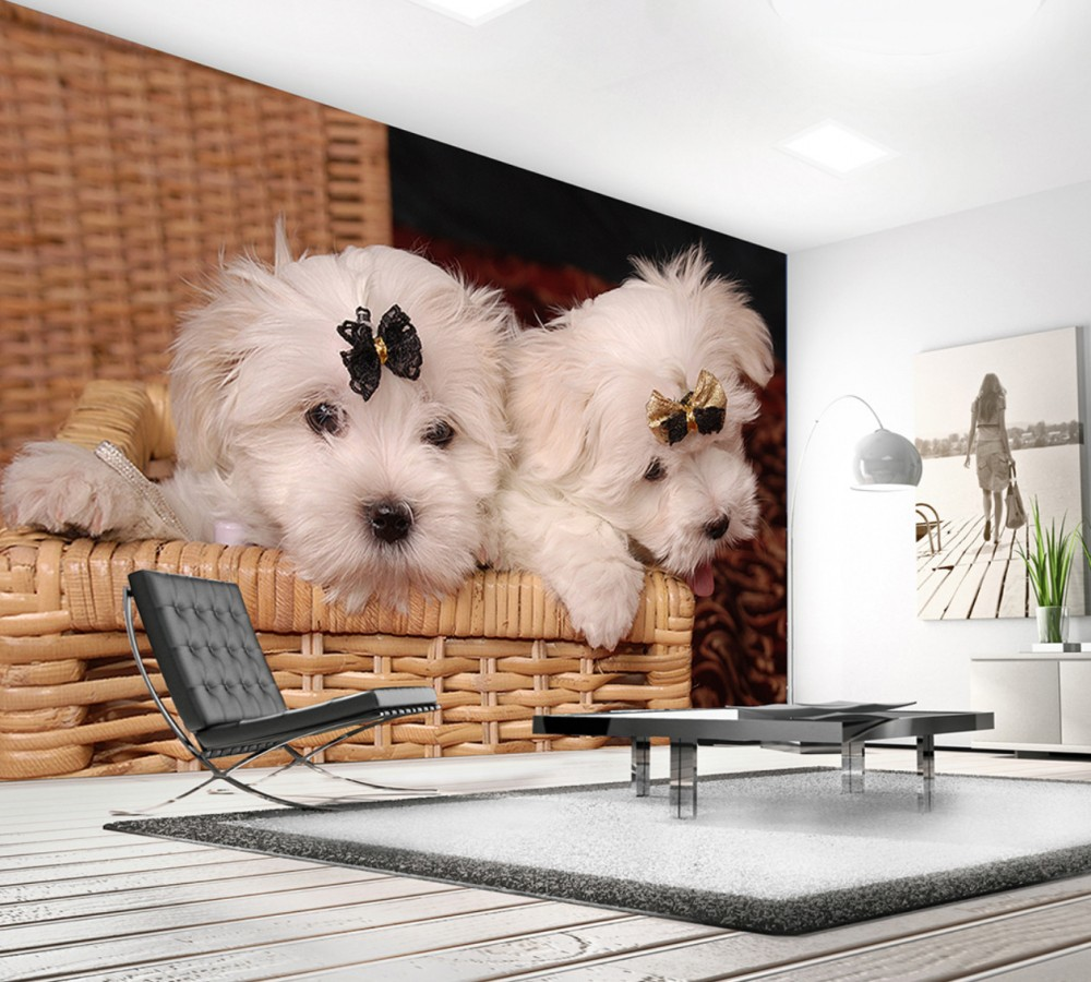 Us 19 0 50 Off Free Shipping Photo Wallpapers 3d Custom Cute Cute Dog Marble Tile Tv Wall Living Room Decoration Wallpaper Bedroom Mural In