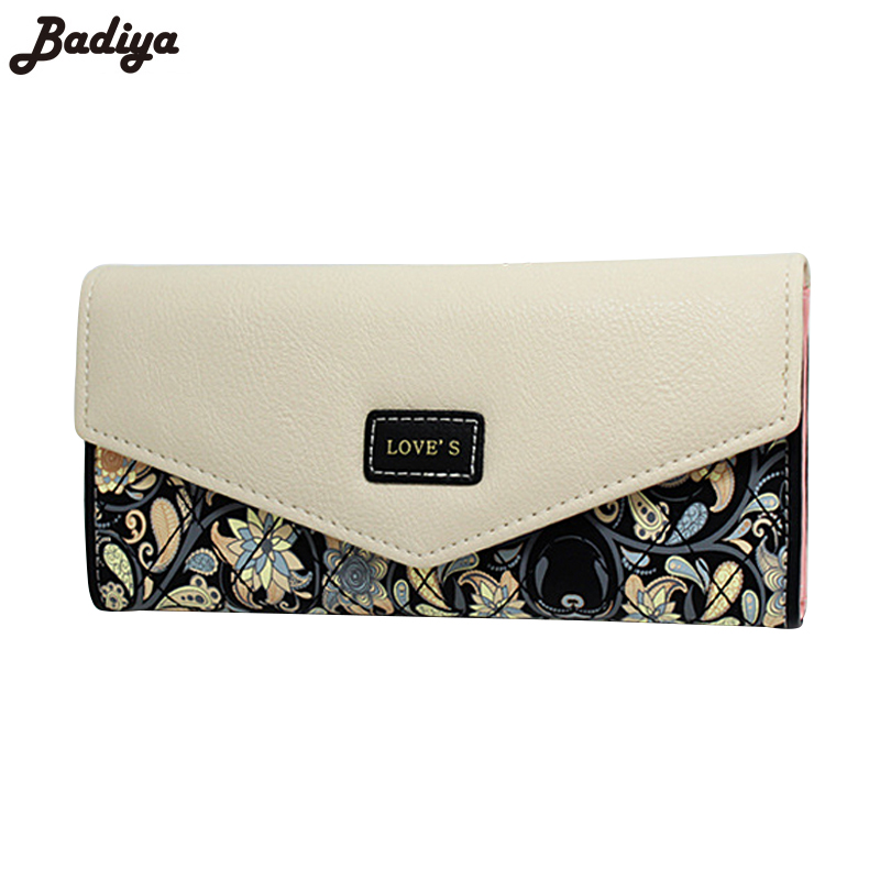 2016 New Fashion Flowers Envelope Women Wallet Hot Sale Long Leather Wallets Popular Change Purse Casual Ladies Cash Purse