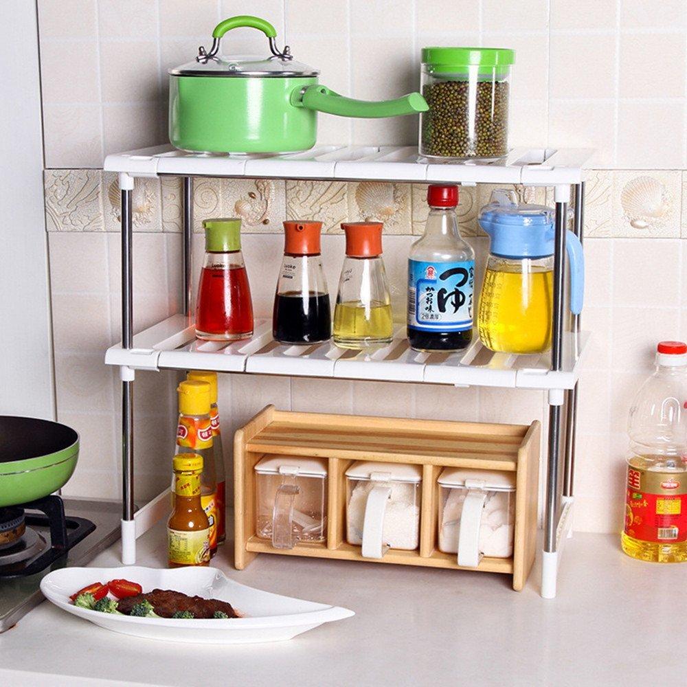 Kitchen Sink Shelf Organizer: 2 Tier Expandable Adjustable Under Sink Shelf Storage
