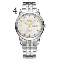 Роскошные для мужчин часы Полный нержавеющая сталь Золото Кварцевые часы знаменитого бренда наручные водонепроница календари