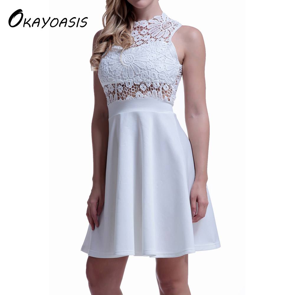 OKAYOASIS Free Shipping Hot Sale Solid Lace Up Dress O Neck Short Skater Dress Women A Line Party White Dresses