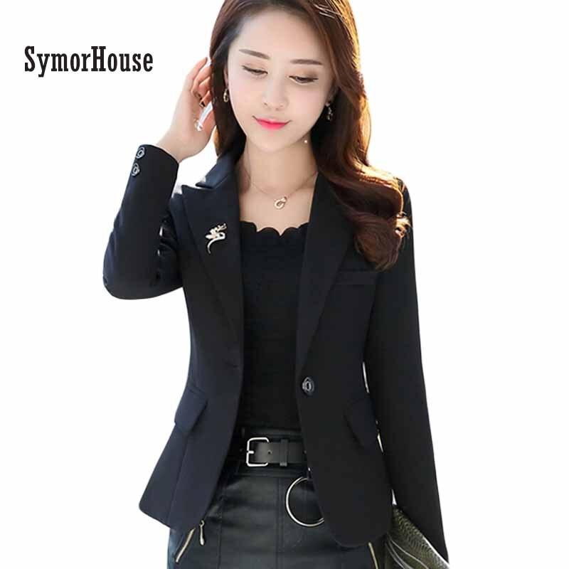 SymorHouse Women's Lapel One Button Office Jacket Female Plus size Casual Business Work Blazer OL Elegant Brief Outwear Coats