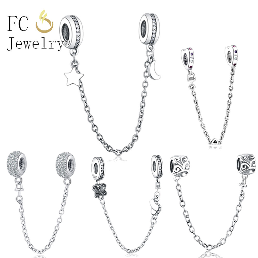 Fashion Jewelry Safety Chain Charms Bead 925 Silver Bracelet Women's Rainbow Pave CZ Fit Original Pandora Charm Bracelet DIY New
