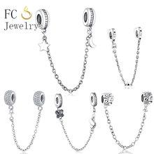 Fashion Jewelry Safety Chain Charms Bead 925 Silver Bracelet Womens Rainbow Pave CZ Fit Original Pandora Charm DIY New