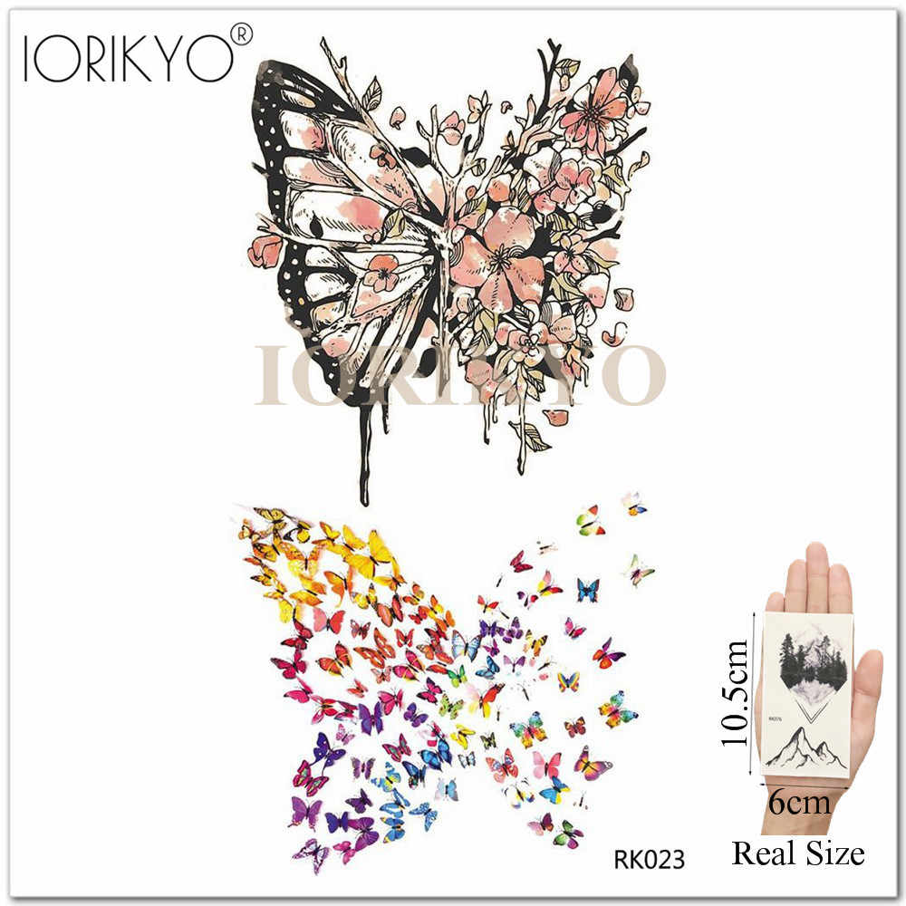 Cute Dolphin Temporary Tattoo Stickers Paper For Kids Women Arm Art Whale Flash Fake Tatoos Cartoon Butterfly Waterproof Tatto