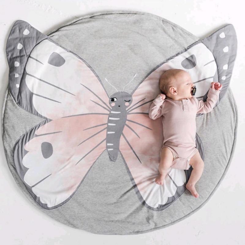 HTB1NIaWXynrK1Rjy1Xcq6yeDVXaf Cartoon Animals Baby Play Mat Foldable Kids Crawling Blanket Pad Round Carpet Rug Toys Cotton Children Room Decor Photo Props