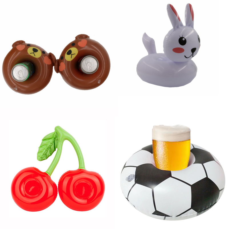 Inflatable Rabbit Football Cherry Drink Pool Float Inflatable Cup Coasters Cola Beverage Cup Holder Christmas Party Supplies