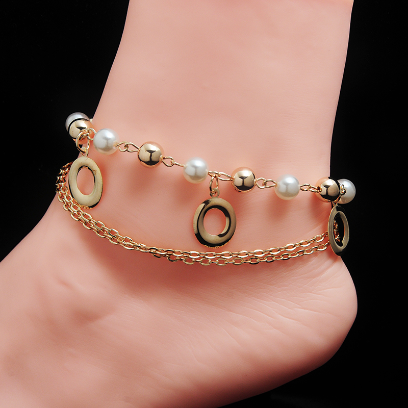 Sexy Women s Round Circles Charm Ankle Bracelet Multilayer Imitation Pearl Beads Thin Chains Anklets Pulseras