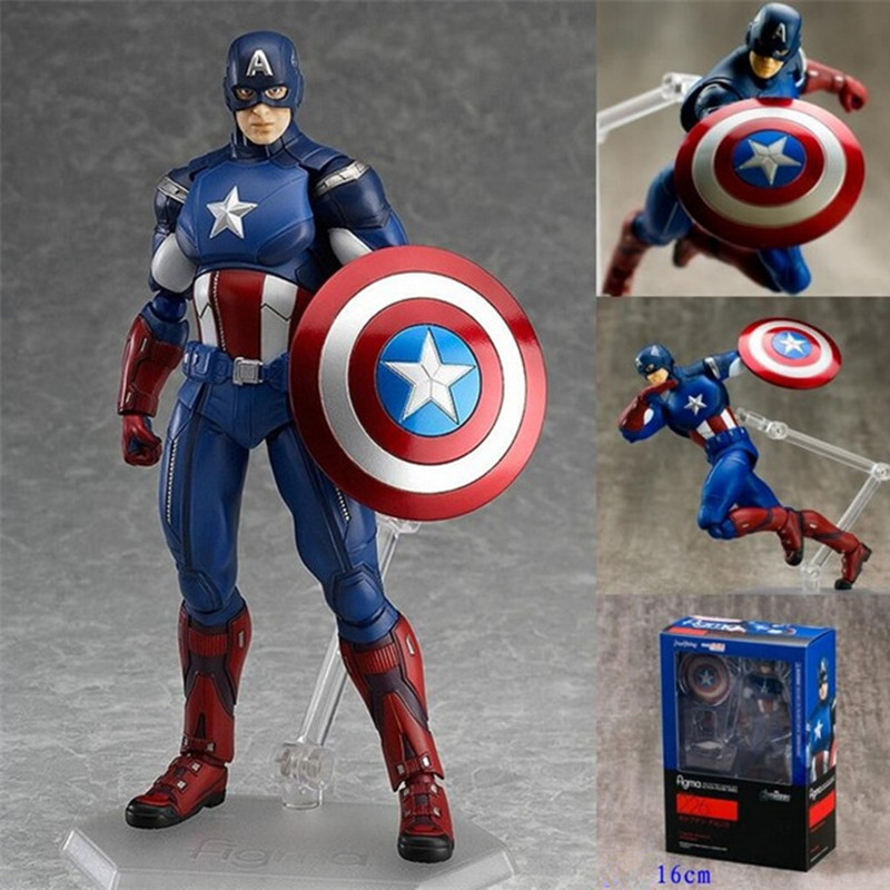 16cm Captain America Action Figure Toy Figma 226 Anime Brinquedos Super Hero Deluxe Figure Model Kids Toys Christmas Gift