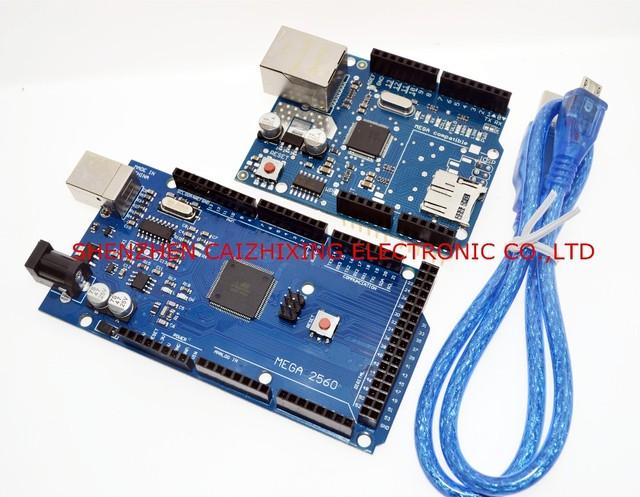 Frete grátis! Ethernet W5100 Protetor para arduino placa de expansão de rede cartão SD com Mega 2560 R3 Mega2560 REV3 e cabo usb