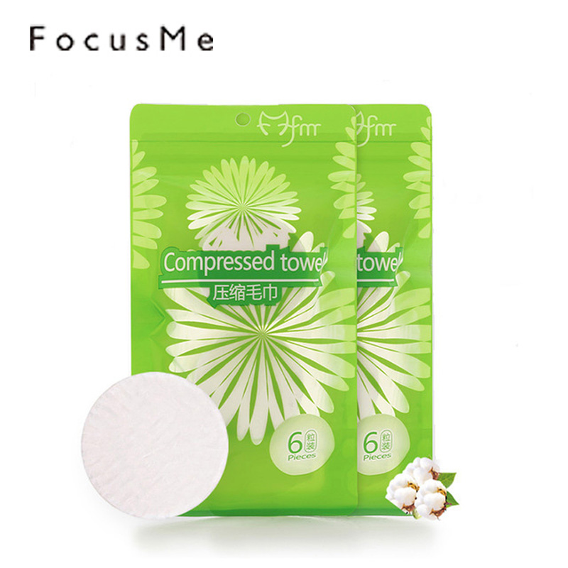 Focusme 6pcs Cotton Compressed Disposable Facial Towel Outdoor Portable Multipurpose Cleansing Wipes Traveling Tablet Magic Pads