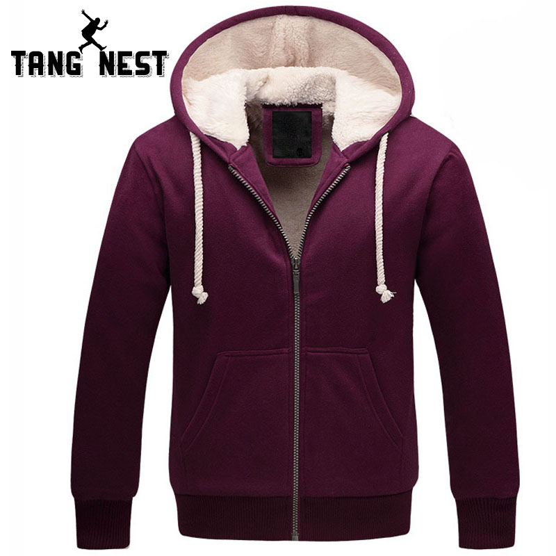 TANGNEST Hoodie 2017 New Arrival Hoodies Men Multicolor Casual Plus Thick Velvet Men's Solid Color Sweatshirts Fashion MWW914