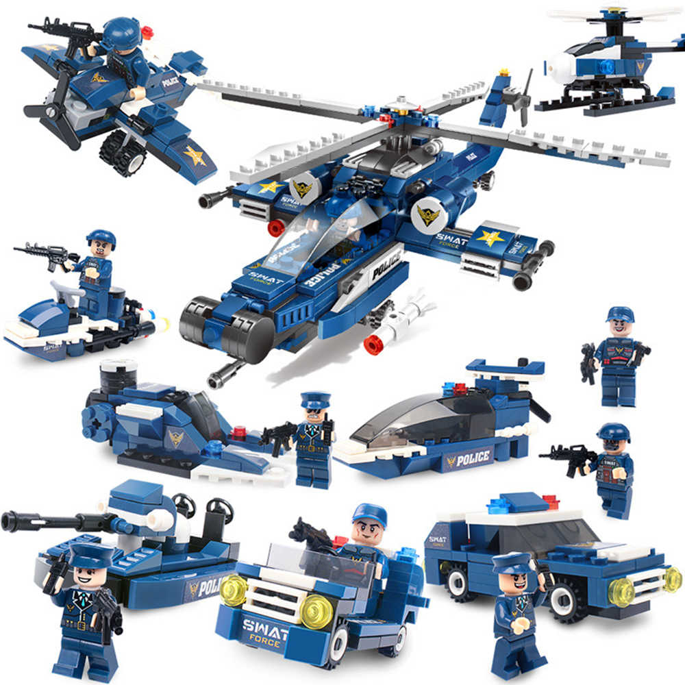 Vidiem Creative 8 in1 Swat vehicle Police Helicopter Educational Building Blocks Toys For Kids 6Years DIY Gift Small Bricks