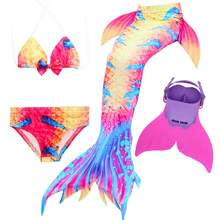 4pcs/set zeemeerminstaart met monofin Costume Ariel Children Swimming Mermaid Tail Fins Girls Kid Swimsuit Swimmable Costume(China)
