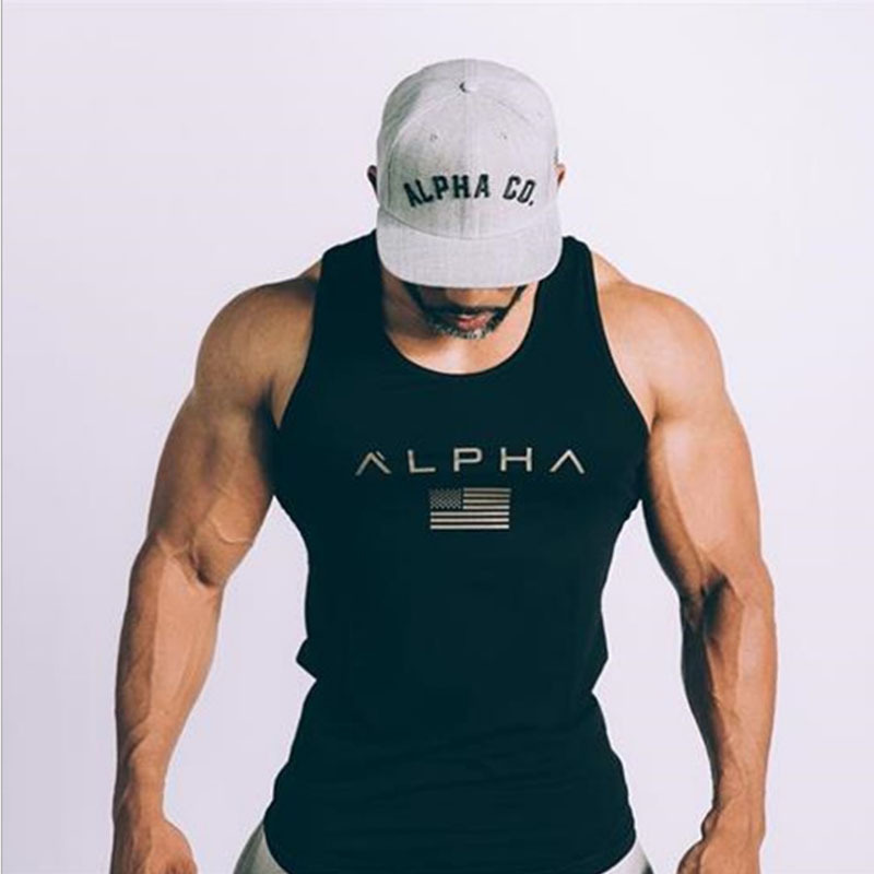Sleeveless Gym T Shirt Men Running Shirt Summer Vest Cotton Breathable Mens Tank Top Gym Workout Fitness T-Shirt Sport Shirt MMA