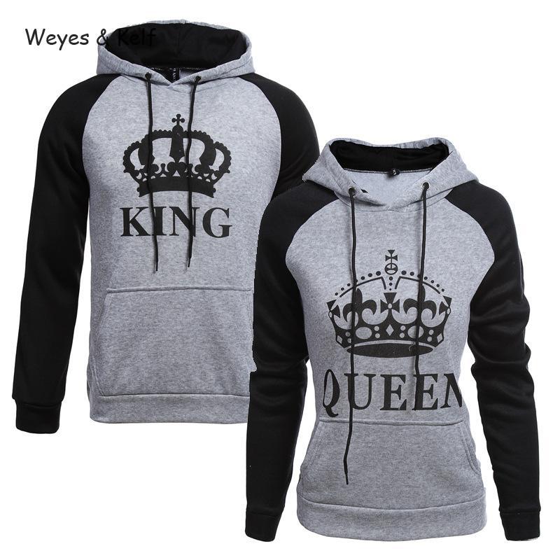 Weyes & Kelf Printed Letters King Queen Long Sleeve Couple Clothes Hoodies Women 2018 Woman Sweatshirt Long Sleeve Hoodie Kpop