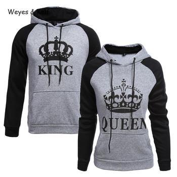 f8283911c5 Weyes & Kelf Printed Letters King Queen Long Sleeve Couple Clothes Hoodies  Women 2018 Woman Sweatshirt Long Sleeve Hoodie Kpop