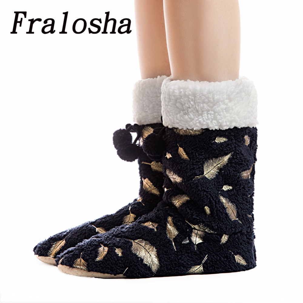 FRALOSHA DropShipping Womens Boots Cotton shoes Winter Warm Home Cotton-padded Shoes Winter Soft bottom Indoor Plush Boots