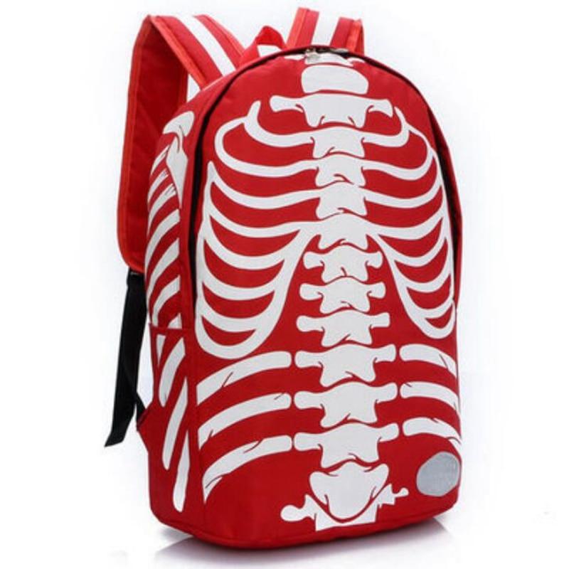 2017 Fashion Nylon Skeleton Printing Backpacks for Teenagers Men Travel Back Bag Women Schoolbags for Boys