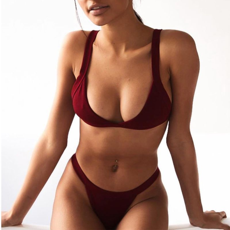 7 Colors Women Sexy Two Piece Set Plunging V-Neck Unpadded Triangle Bra Low Waist Thong Seamless Solid Color Thread Verti