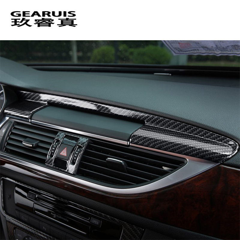 Car Styling Center Console Navigation Panel Trim Interior Carbon Fiber Sticker Cover For Audi A6 C7 A7 Interior Auto Accessories