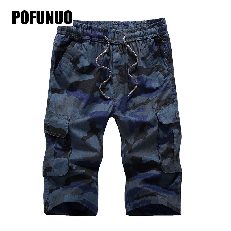 Multi-pocket Camouflage Mens Shorts 2018 Mens Cargo Shorts Casual Shorts Fashion Pockets Solid Color Army Green Shorts Large 4XL
