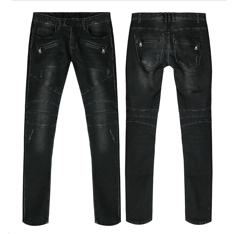 ФОТО New arrival Famous designer Mens Fashion Black Skinny Pleated Biker Jeans Vintage Ripped Jeans Straight Slim Fit Size 28-36 M330