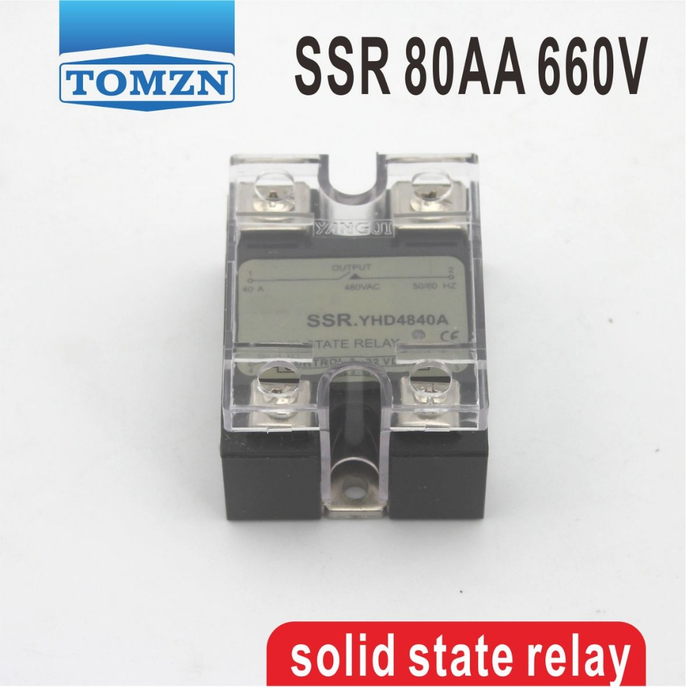 80AA SSR input 90-250V AC load 48-660V AC High voltage single phase AC solid state relay high quality ac ac 80 250v 24 380v 60a 4 screw terminal 1 phase solid state relay w heatsink