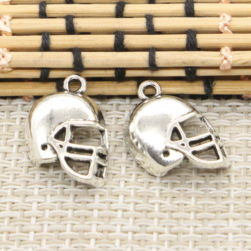 10pcs Charms soccor football helmet 20*15mm Tibetan Silver Plated Pendants Antique Jewelry Making DIY Handmade Craft