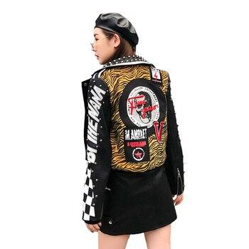 Autumn New Thai Fashion Brand Women Leather Jacket Rivet zebra Graffiti printing pattern Patch Designs Embroidery Slim Outerwear