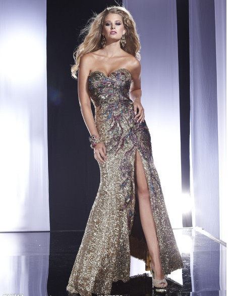 Livraison gratuite 2013 maxi vestidos de festa formel élégant sexy jambe ouverte or paillette cocktail et fête longue robe robes de bal