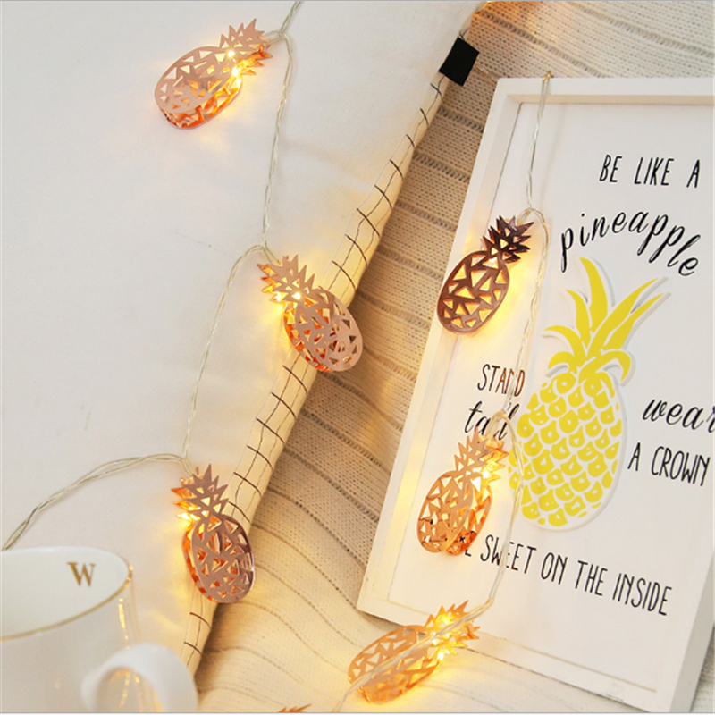 Rose Gold Pineapple LED Lighting Strings Fairy String Light Warm White With AA Battery For Wedding Party <font><b>Holiday</b></font> <font><b>Decoration</b></font> image