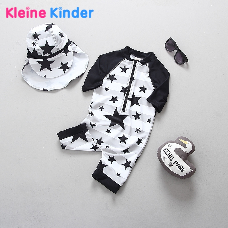 Boys Swimsuit One Piece Long Sleeve Warm Belly Sun Protection Children Swimwear For Boys Stars Print Kids Bathing Swimming Suit