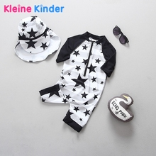Boys Swimsuit One Piece Long Sleeve Warm Belly Sun Protection Children Swimwear for Boys Stars Print