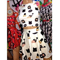 Raisevern summer fashion style 2 piece set women crop top and skirt casual emoji women suits black nail polish print mini skirt